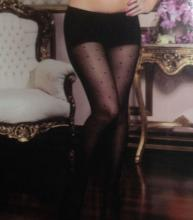 Black Classic Sheer Pantyhose with Small Dots One Size Sheer Control Top