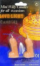 Mini Willy Birthday Candle 2 Piece Set Dicky Peni Shaped Novelty Adult Cake Joke