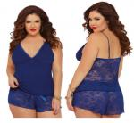 Navy Jersey Knit Cami And Lace Boxer Set Women's Plus Size 3X/4X