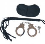 starter kit includes leather cat o'nine tails metal handcuffs  satin mask